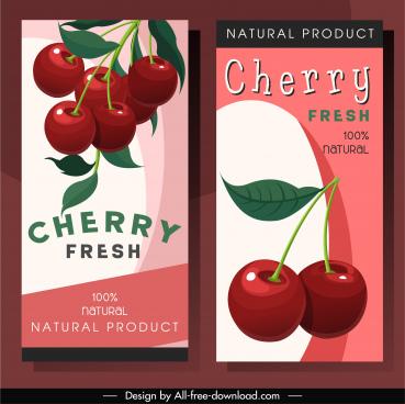 cherry leaflet templates elegant colored classic decor