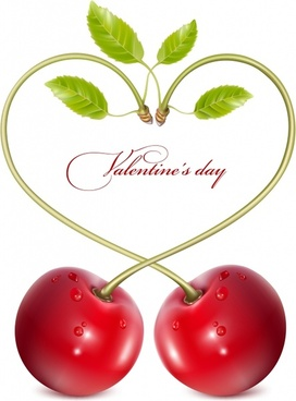 valentine background cherry heart shape decor realistic design