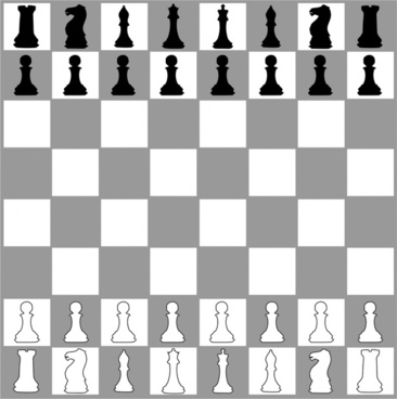 chessboard realistic vector illustration in black and white