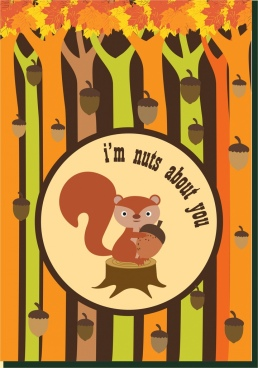 chestnut background squirrel icon colorful trees decor