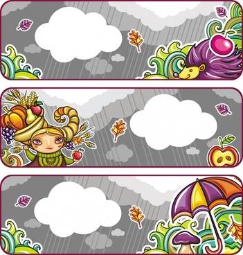 rain background templates elegant colorful flat seasonal elements