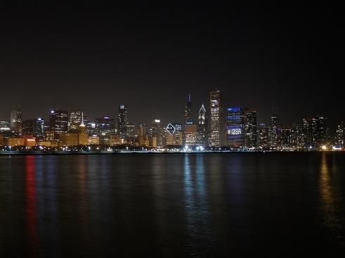 chicago chicago night lake michigan