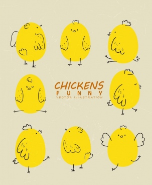 chick icons collection yellow handdrawn funny style