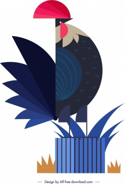 chicken animal icon colored flat geometrical design
