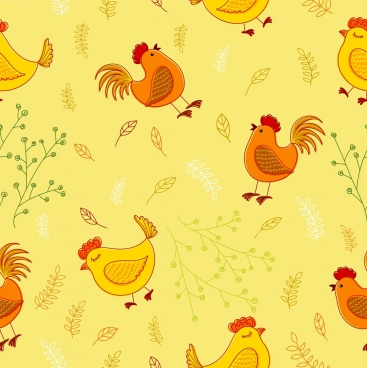 chicken background multicolored handdrawn flat repeating design