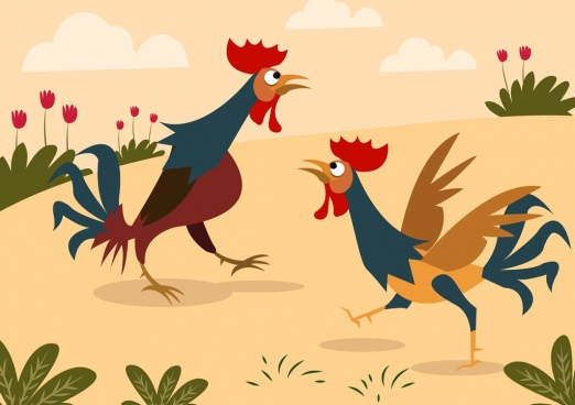 chicken drawing colored cartoon design