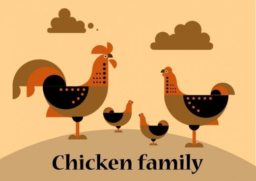chicken family background dark flat icons
