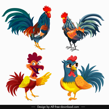 chicken icon classical design colorful cute cartoon sketch