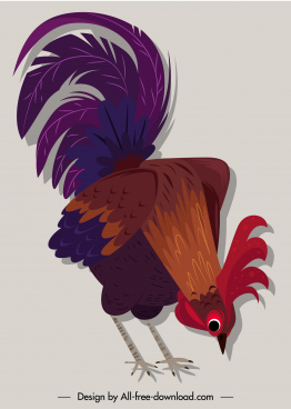 chicken icon colorful classical design eating sketch