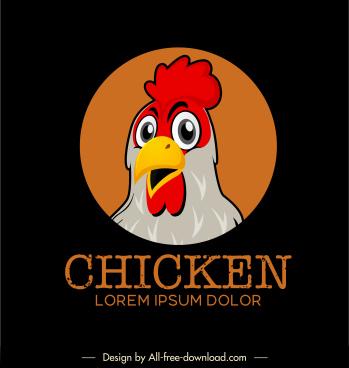 chicken logo template colorful cute cartoon sketch