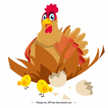 chicken painting hatched chicks sketch cartoon design