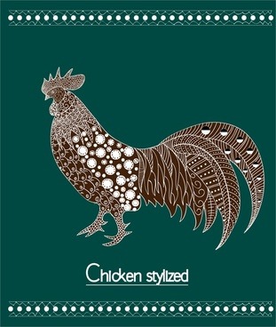 chicken stylized design on green background