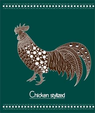 chicken stylized design on green background