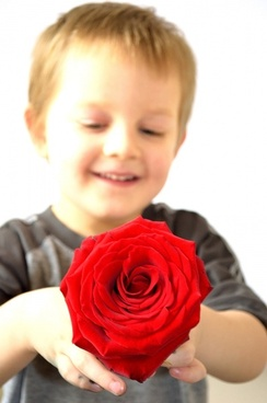 child and roses