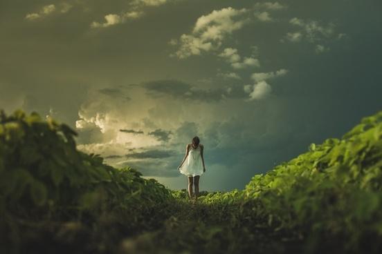 child cloud cloudy dark evening fog forest girl