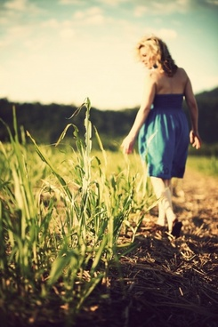child countryside field flower girl grain grass