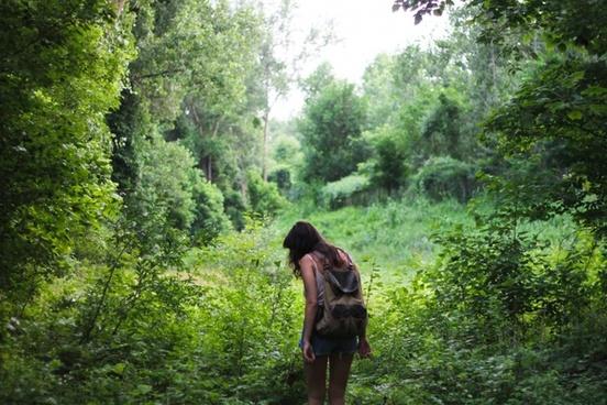 child forest girl grass hiking landscape lost love