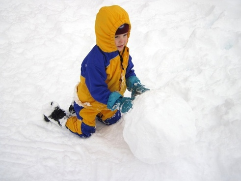 child making snowball