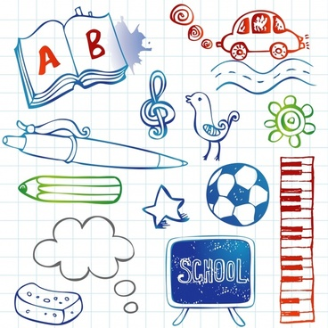 school design elements education tools icons handdrawn design