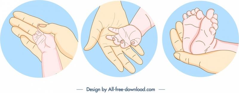 childbirth design elements caring hands symbols handdrawn sketch
