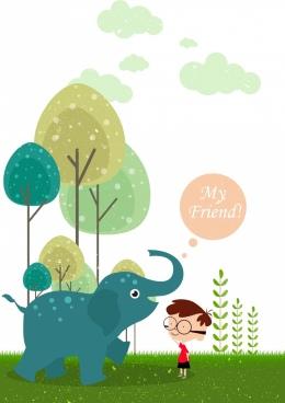 childhood background baby elephant boy icons cartoon design