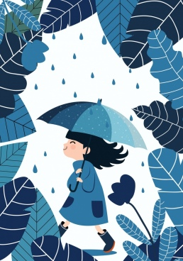 childhood background blue design girl leaves umbrella icons