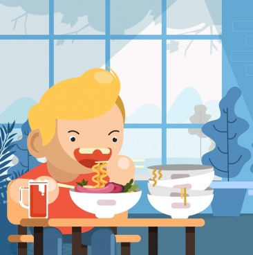 childhood background boy eating noodle icon cartoon character