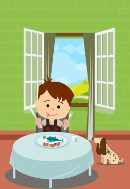 childhood background boy eating seafood icon colored cartoon