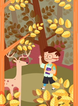 childhood background boy reindeer forest icons colored cartoon