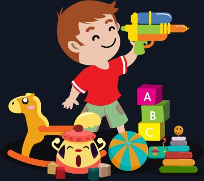 childhood background boy toys icons cartoon design