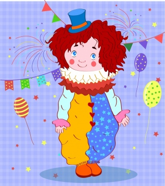 childhood background cute kid clown costume eventful decor