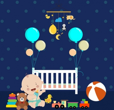 childhood background cute kid toys icons decoration