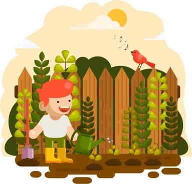 childhood background gardening theme colored cartoon design