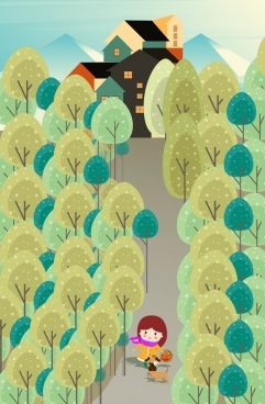 childhood background girl pet trees icons decor