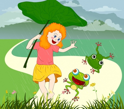childhood background girl rain frogs icons colored cartoon