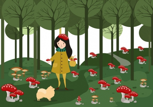 childhood background girl red wild mushrooms icons