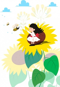 childhood background girl sunflowers honeybees icons cartoon design