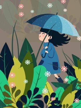 childhood background girl umbrella flowers leaves icons