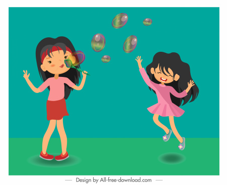 childhood background girls playing balloons sketch cartoon characters