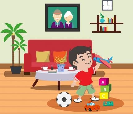 childhood background indoor furniture joyful boy toys icons