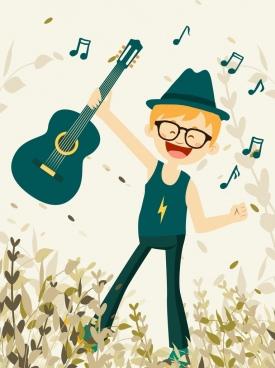 childhood background joyful boy guitar music notes icons