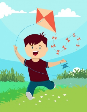 childhood background joyful boy kite icons colored cartoon