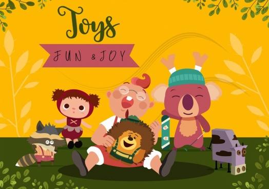 childhood background joyful boy stylized toys icons