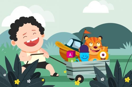 childhood background joyful boy toy icons cartoon design