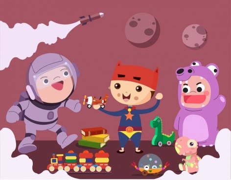 childhood background joyful boys toys icons cartoon characters