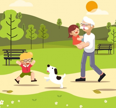childhood background joyful children grandfather icons cartoon design