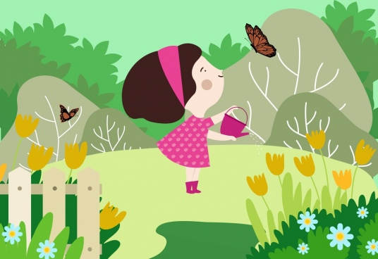 childhood background joyful girl garden icons cartoon design