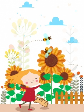 childhood background joyful girl kitty honeybees sunflowers icons