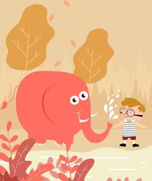 childhood background joyful kid elephant icons cartoon design