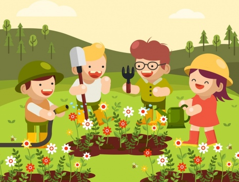 childhood background joyful kids gardening theme cartoon design